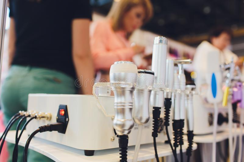Closeup of cosmetology equipment in modern aesthetic clinic. stock image