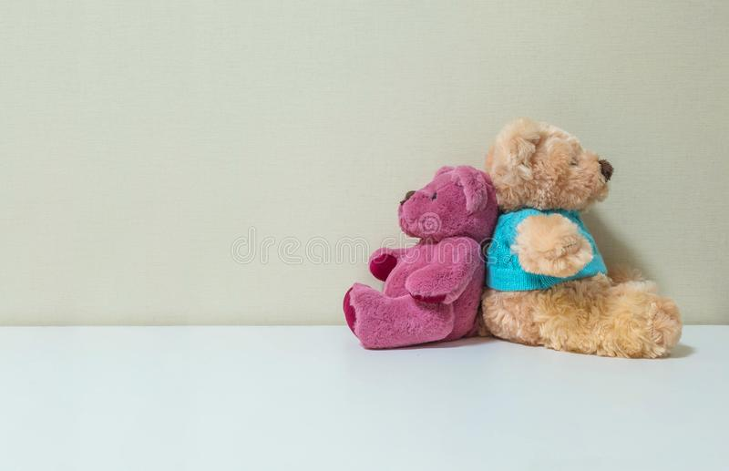 Closeup couple of pink and brown bear doll on white desk and wall textured background with copy space royalty free stock image