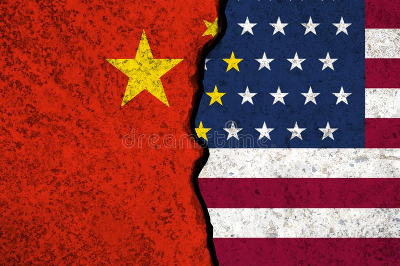 Closeup crack of USA flag and China flag .It is symbol of tariff trade war crisis between United States of America and China which. The biggest economic country stock image