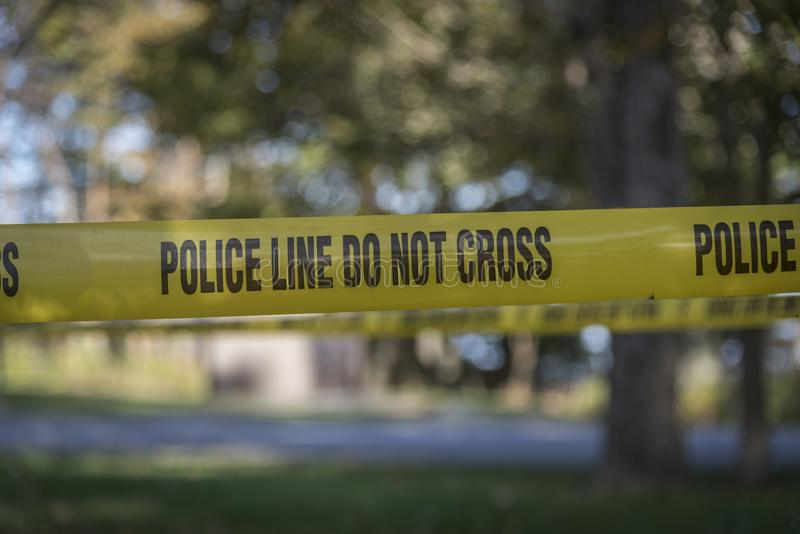 Closeup of crime scene tape stock photos