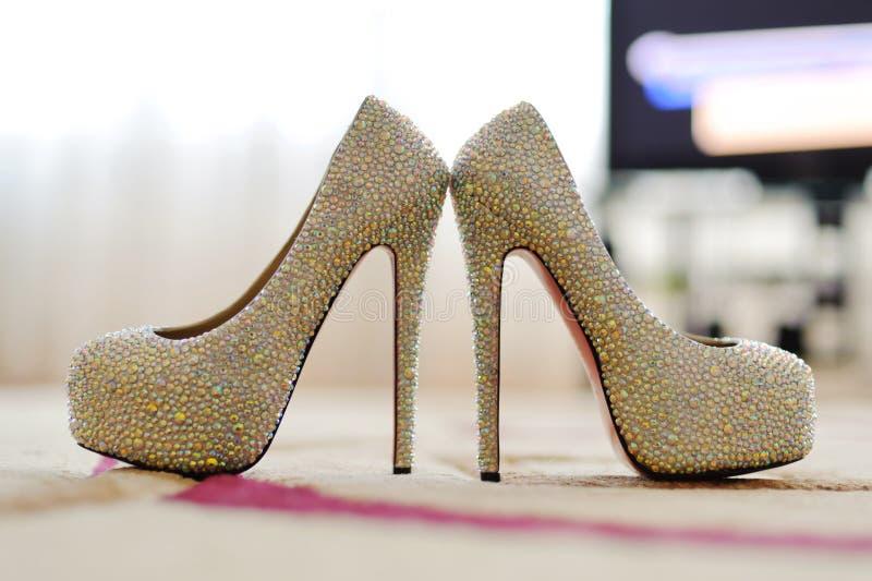 Closeup of Crystal Shoes royalty free stock photos
