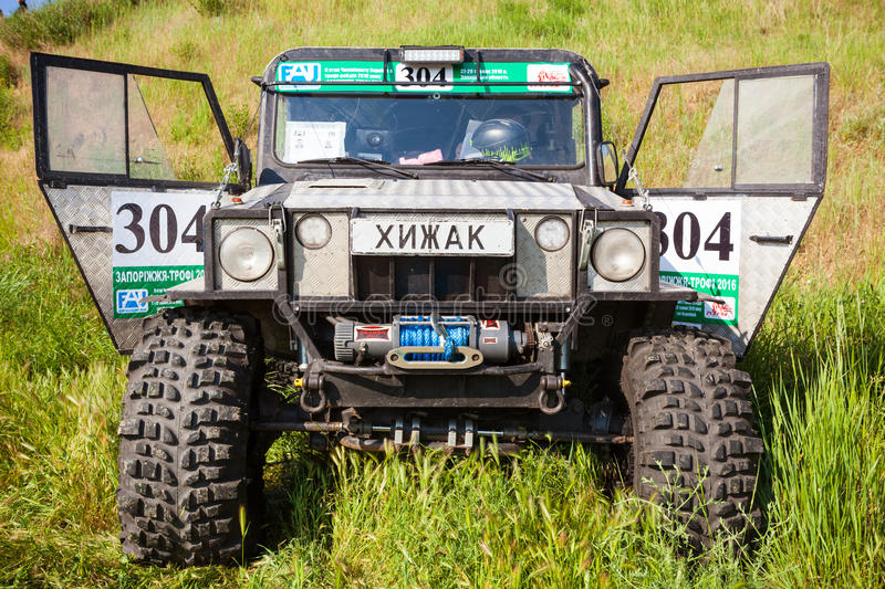 Closeup of custom built TR3 car. Predator text on licence plate. KIRILLOVKA, UKRAINE - MAY 25, 2016: Zaporizhia Trophy 2016. II stage of offroad trophy royalty free stock photo