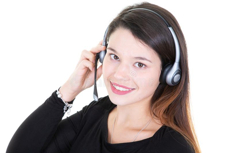 Closeup of customer service manager pretty young woman standing in call center royalty free stock photo