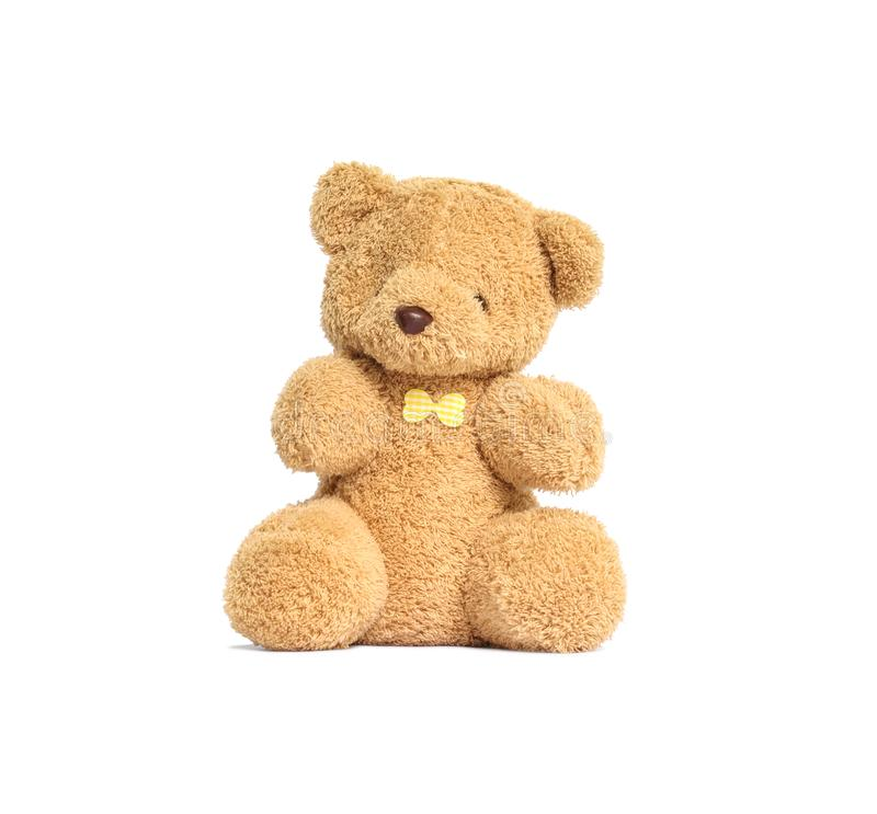 Closeup cute brown bear doll isolated on white background with clipping path stock photos