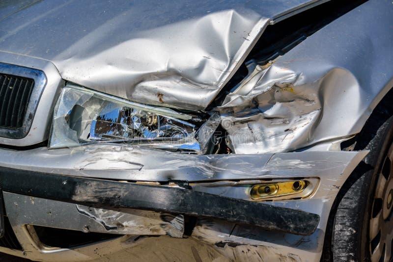 Closeup of damaged crashed car stock photography