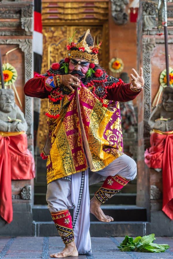Closeup of dancing King at Sahadewa Barong Dance Studio in Banjar Gelulung, Bali Indonesia. Banjar Gelulung, Bali, Indonesia - February 26, 2019: Mas Village stock photo