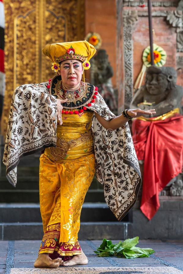 Closeup of dancing Queen at Sahadewa Barong Dance Studio in Banjar Gelulung, Bali Indonesia. Banjar Gelulung, Bali, Indonesia - February 26, 2019: Mas Village royalty free stock images