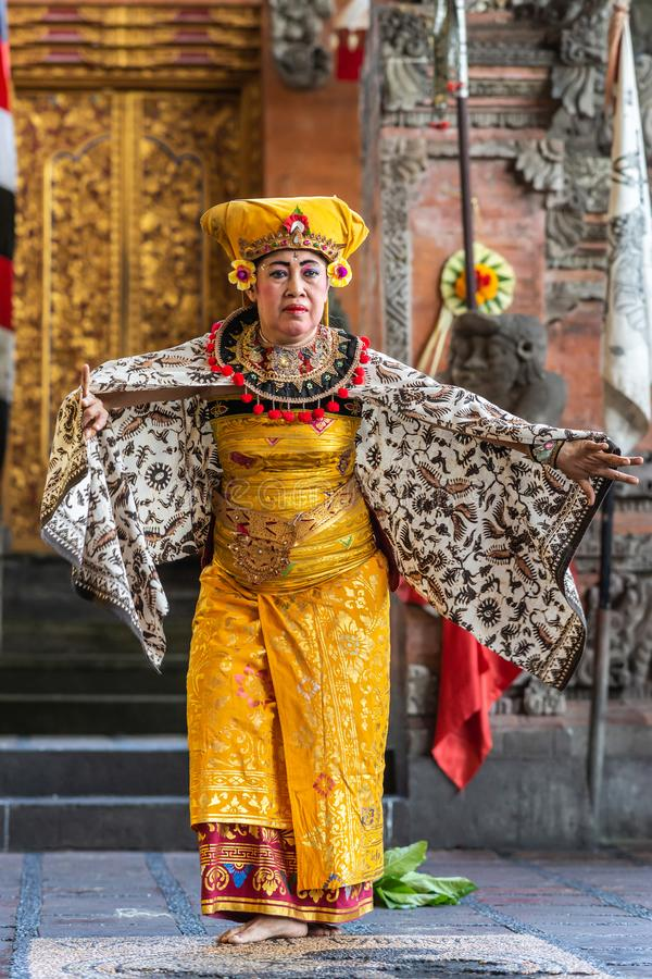 Closeup of dancing Queen at Sahadewa Barong Dance Studio in Banjar Gelulung, Bali Indonesia. Banjar Gelulung, Bali, Indonesia - February 26, 2019: Mas Village royalty free stock photos
