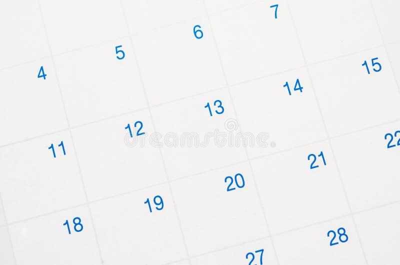 Closeup of dates on calendar. Closeup of dates on calendar page stock photography