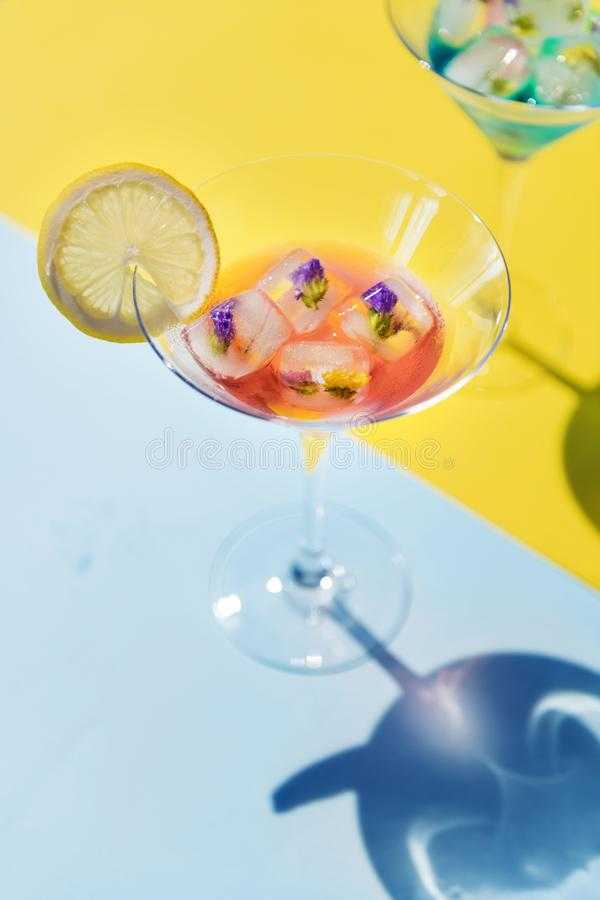 Closeup of decorated cocktail summer drink stock photo