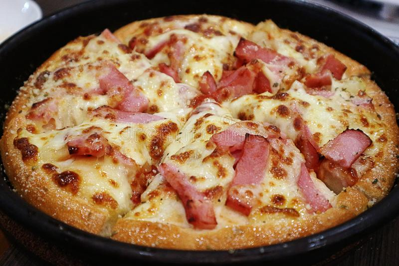 Closeup of Delicious Bacon and Cheese Pizza royalty free stock images