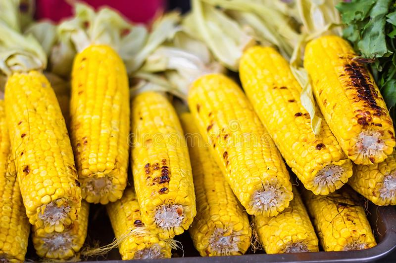 Closeup delicious BBQ grilled Mexican corn on the cob, vegetable food background. Barbecued roasted on the hot stove fresh tasty s. Weet corn. Ready to Eat stock photo