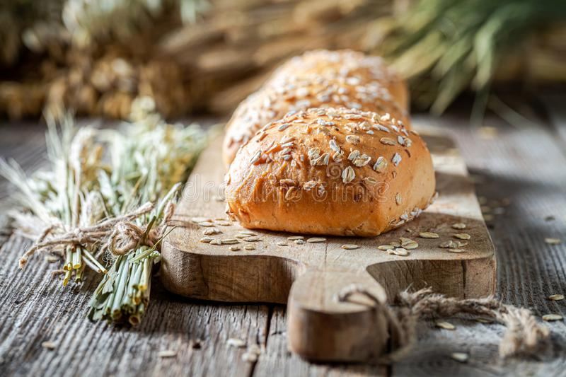Closeup of delicious and healthy buns made of oat flakes stock image