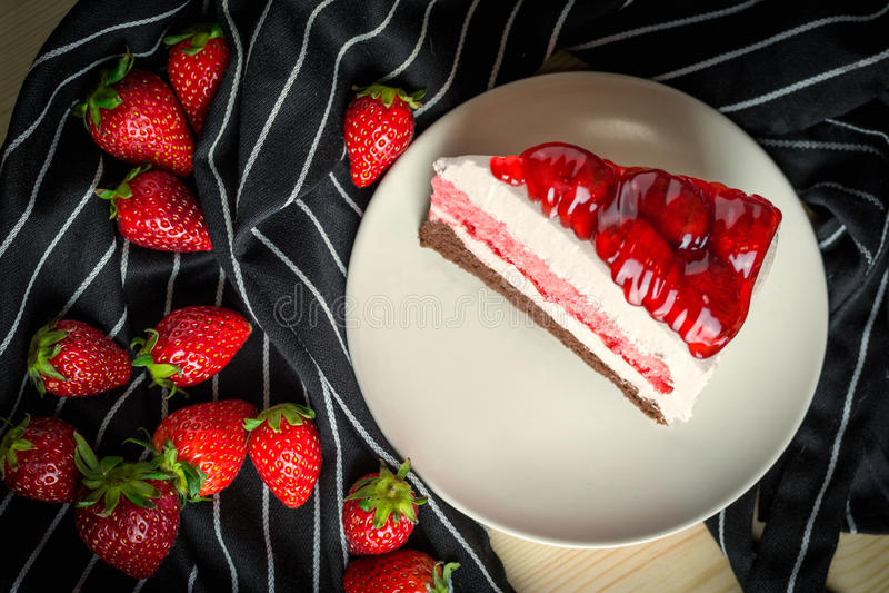 Closeup delicious sweet dessert fresh strawberry decoration on s royalty free stock photos