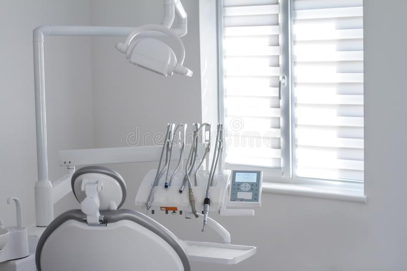 Closeup of dental instruments and equipment in empty dentists office stock photos