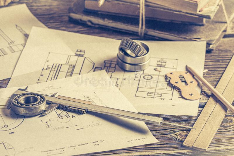 Closeup of designer desk of mechanical parts stock photo