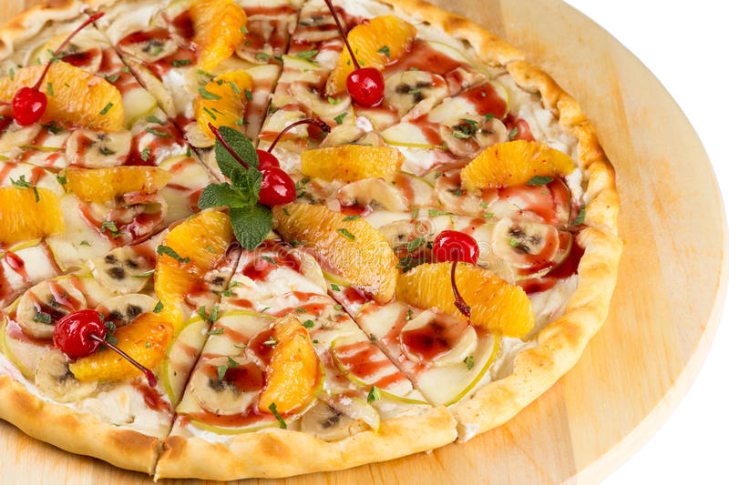 Closeup dessert food the sweet pizza stock image