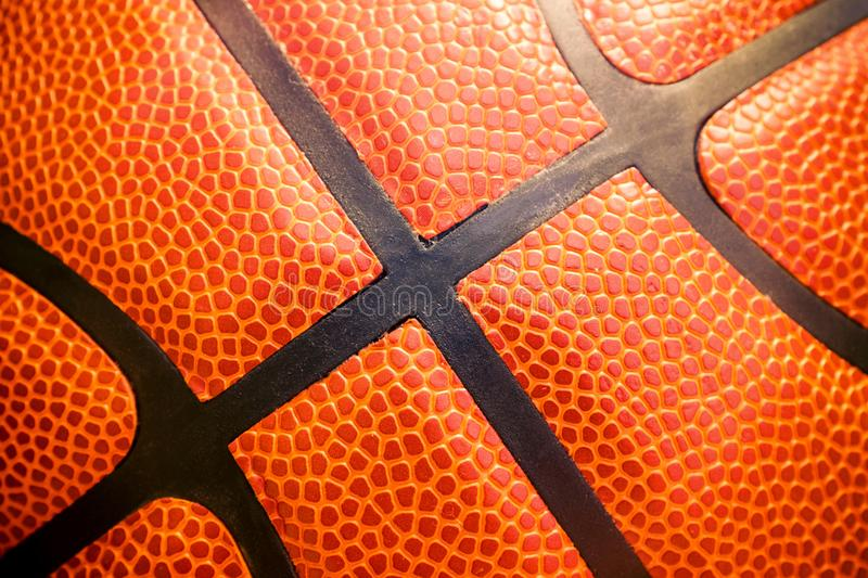 Closeup detail of basketball ball texture background.  royalty free stock images