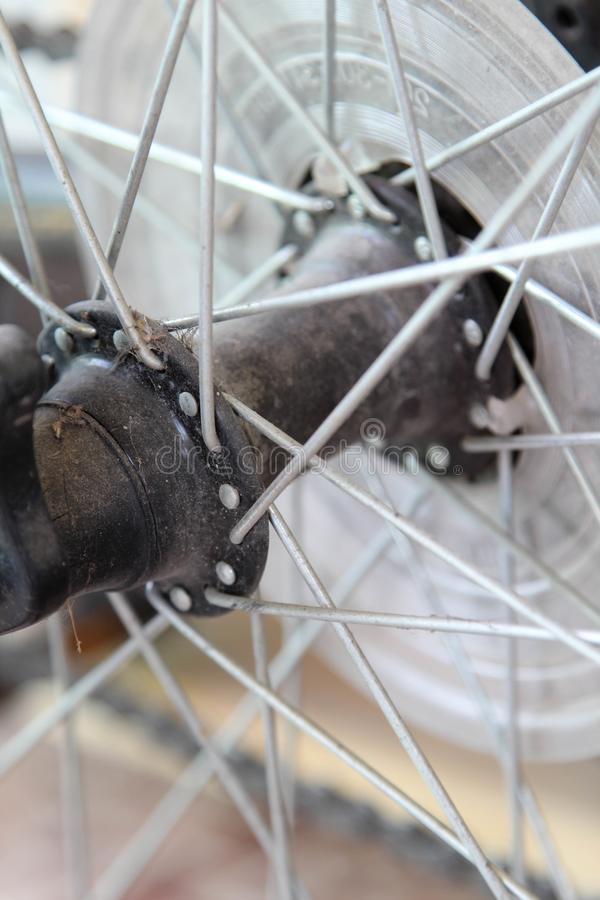 Detail of a bicycle wheel royalty free stock photo