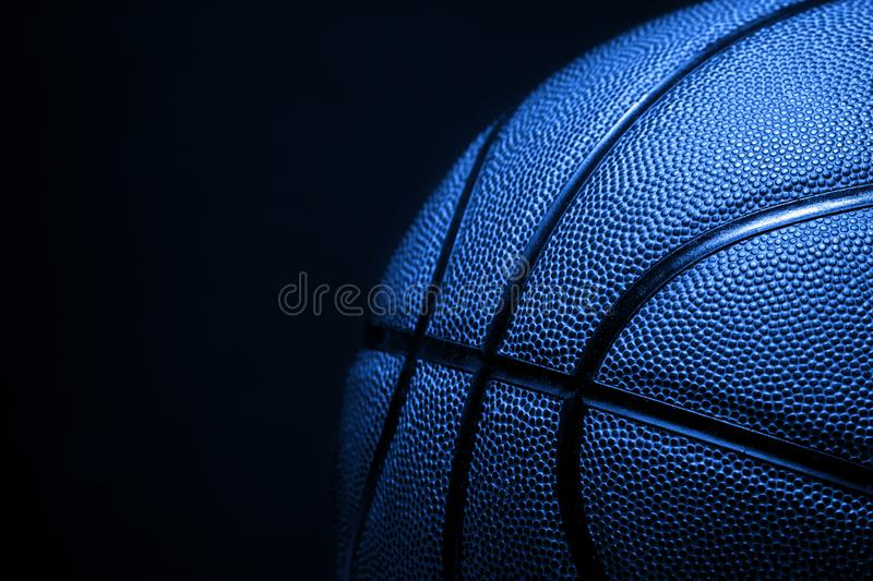 Closeup detail of blue basketball ball texture background.  royalty free stock photography