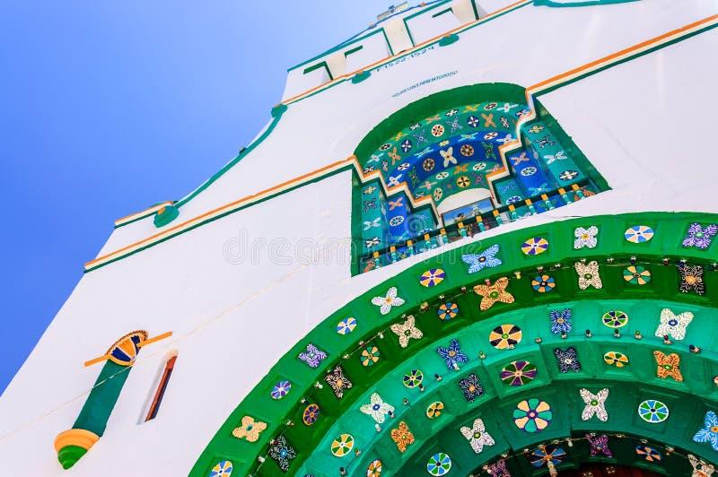 Closeup detail on church, Chamula, Mexico. Chamula, Mexico - March 25, 2015: Closeup detail of facade of Templo de San Juan Bautista in Chamula, an indigenous royalty free stock photography