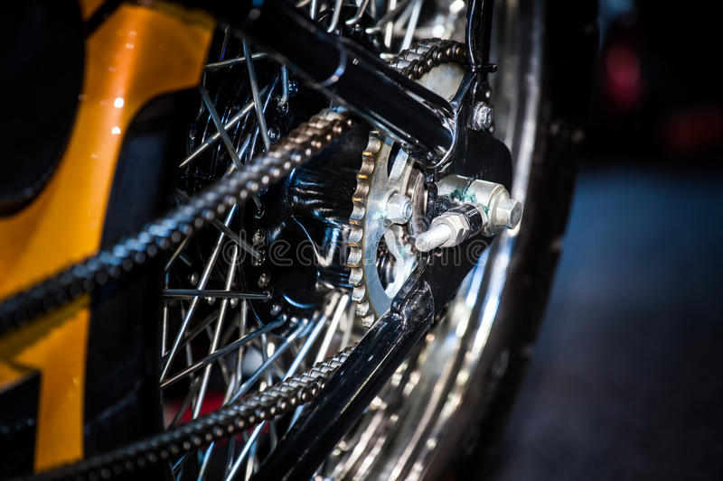 Closeup of detail a motorcycle rear chain royalty free stock photos