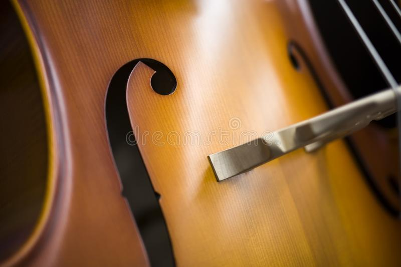 Upright bass. Closeup detail view at the upright bass royalty free stock photos