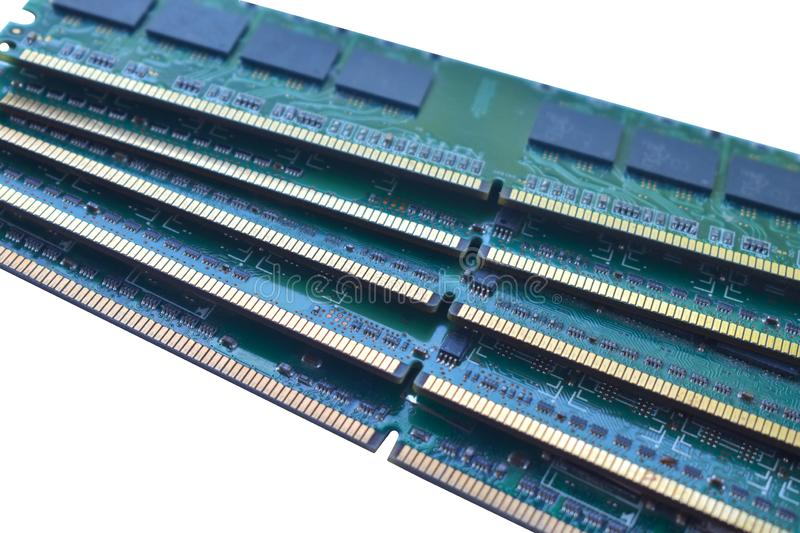 Computer RAM Random Access Memory modules on the white background. stock image