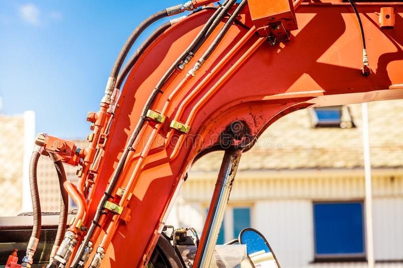 Closeup of details on red big heavy machine royalty free stock photo