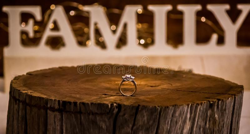 Engagement means family. Closeup of a diamond engagement ring standing upright on a stump of wood in shallow depth of field with the word FAMILY in large letters stock photos