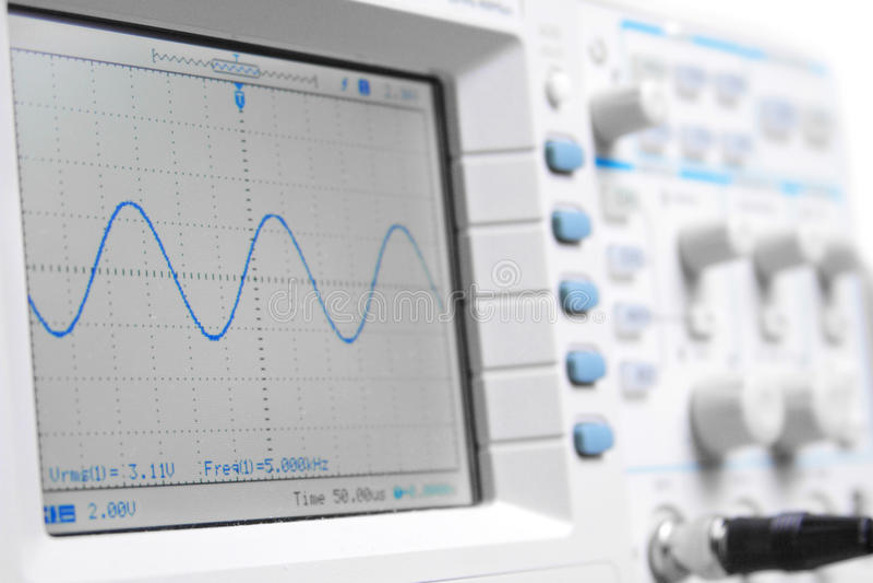 Closeup on a digital oscilloscope showing a sinuso stock photos
