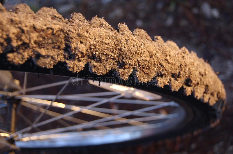Closeup Of A Dirty Mountainbike Tire Stock Photo