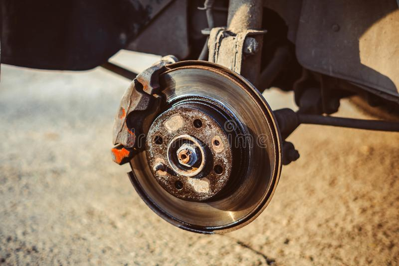 Disc brake of the vehicle for repair. royalty free stock photos