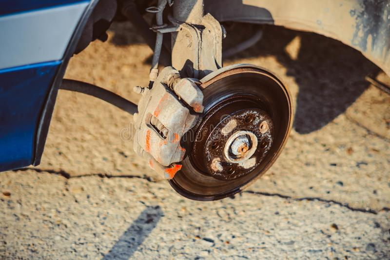 Disc brake of the vehicle for repair. royalty free stock images