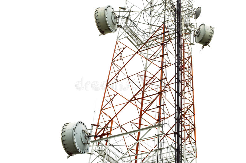 Closeup dish on telecommunication tower. With isolate white background royalty free stock image