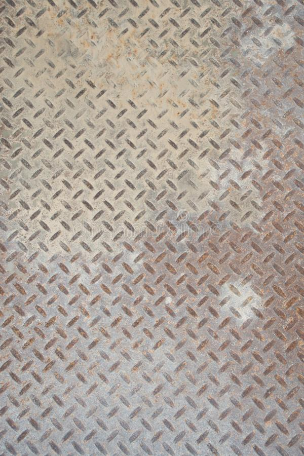 Grungy Industrial Checker Plate Background Texture with Rusty Worn Embossed Raised Diamond Pattern Wallpaper stock photography