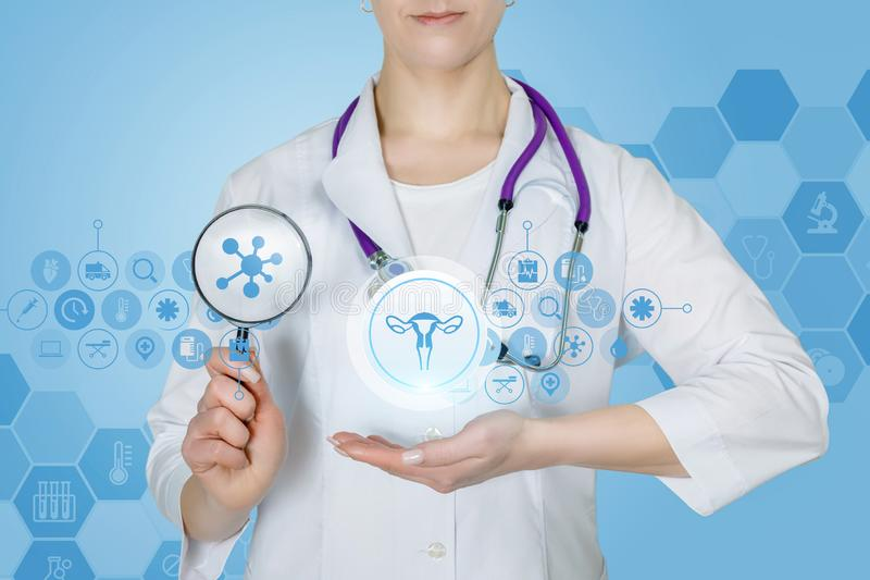 A doctor with a magnifier and a gynecology structure system. A closeup of a doctor with stethoscope and a magnifier and total gynecology structure system with a stock photo