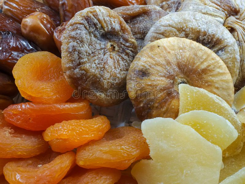 Dried Fruits figs dates ginger stock images
