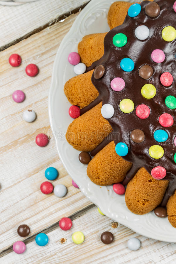 Closeup of easter cake with candies stock photos