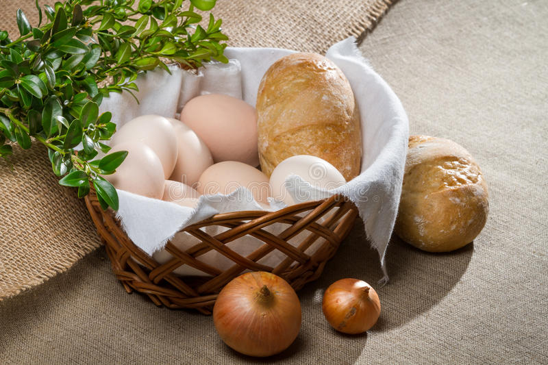 Closeup eggs and bread fo easter breakfast stock photography