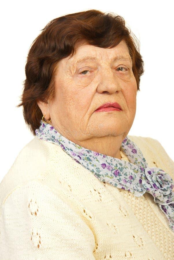 Closeup of elderly woman face stock image