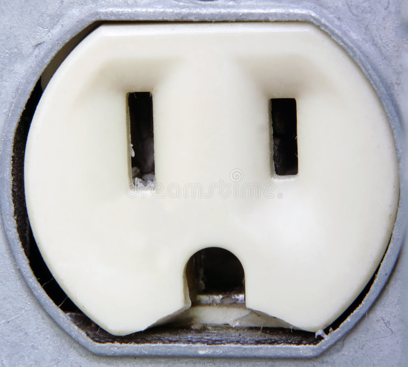 closeup electrical extreme outlet arkivfoto