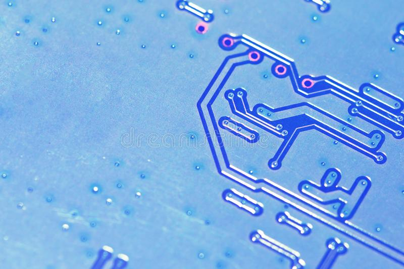 Closeup of electronic circuit board. Electronic circuit board close up with copy space for insert text or logo. Business technology concept stock image