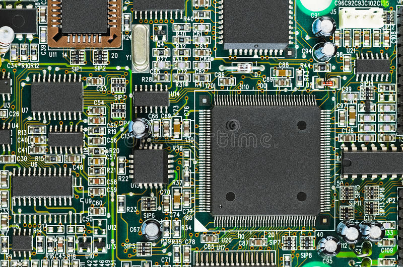 Download Closeup Of Electronic Circuit Board PCB With CPU Royalty Free Stock Photography - Image: 23348117