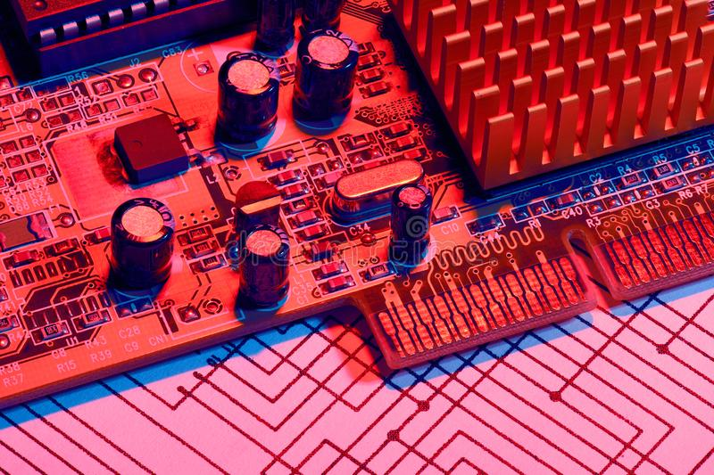 Closeup of electronic components, printed circuit board, unit, part, circuit diagram, computer equipment and digital microchip - stock photos