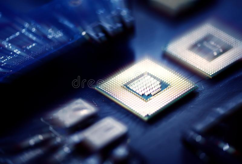Closeup of electronics computer components microprocessors mainboard royalty free stock photography