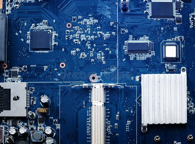 Closeup of electronics computer components microprocessors mainboard stock images