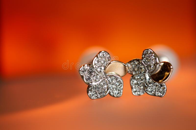 Closeup with elegant bride brooch stock images