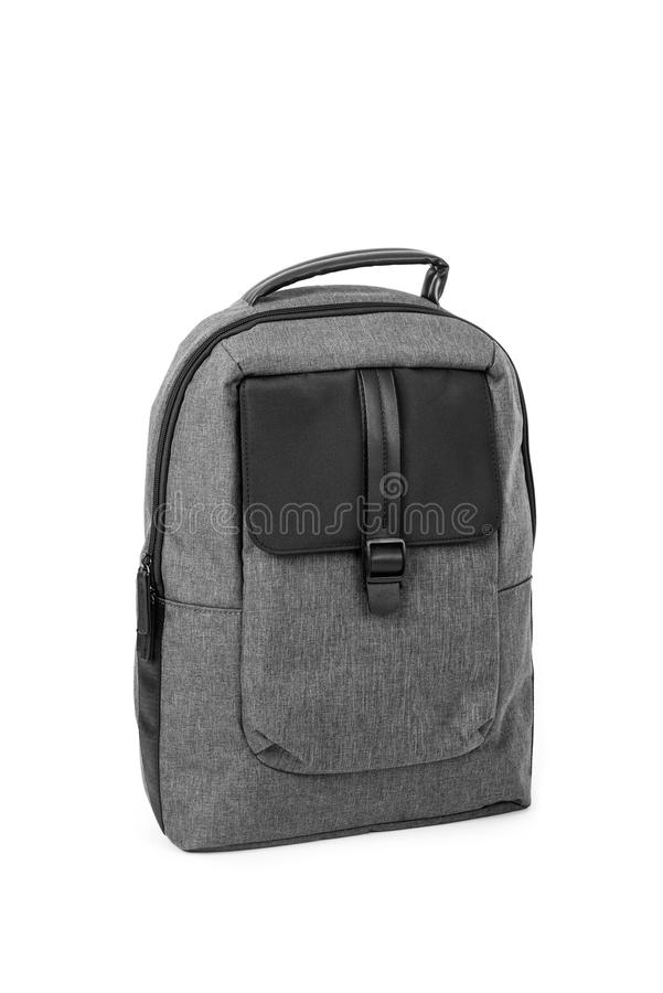 Elegant gray and black backpack royalty free stock images