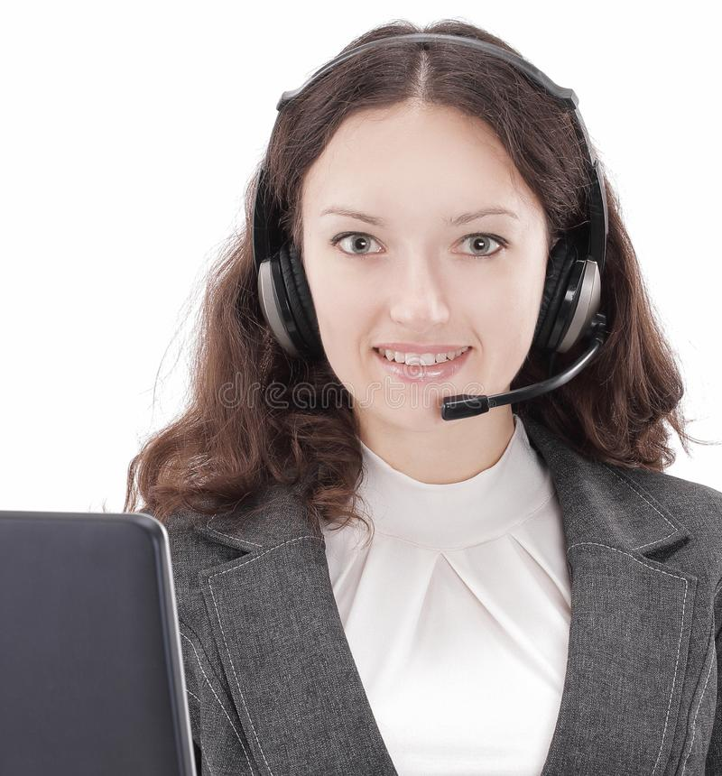 Closeup.employee call center communicating with the client. Isolated on white royalty free stock photography